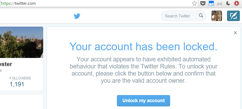 Twitter account locked unusual activity