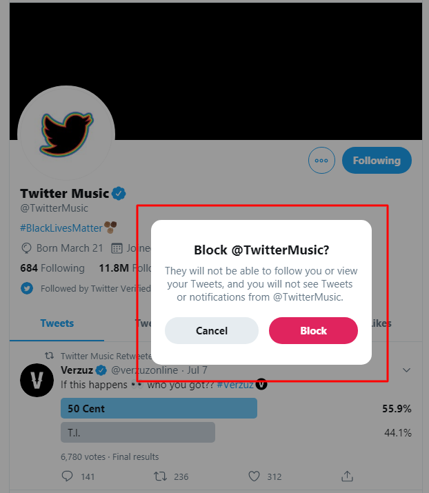 Block prompted